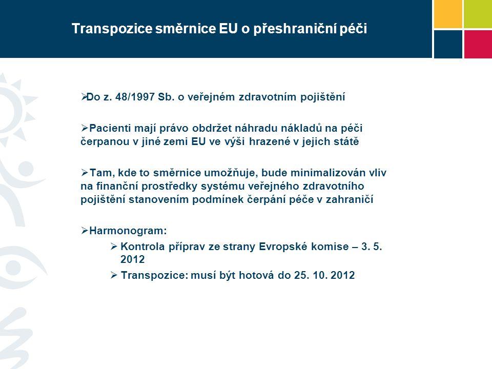 Transpozice směrnice EU o přeshraniční péči  Do z. 48/1997 Sb. o veřejném zdravotním pojištění  Pacienti mají právo obdržet náhradu nákladů na péči