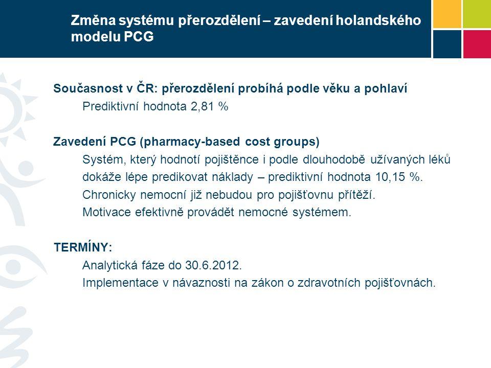 Změna systému přerozdělení – zavedení holandského modelu PCG Současnost v ČR: přerozdělení probíhá podle věku a pohlaví Prediktivní hodnota 2,81 % Zav