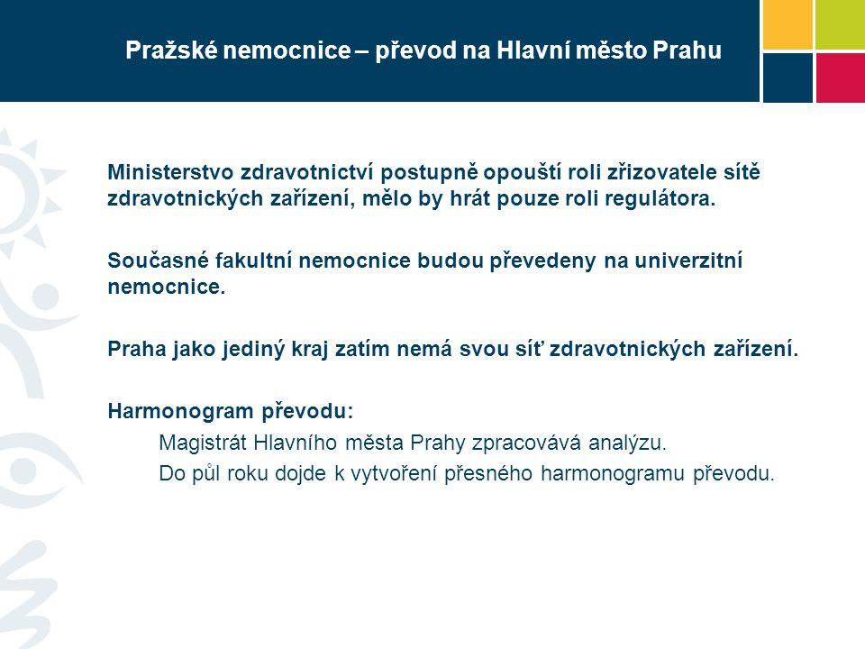 Pražské nemocnice – převod na Hlavní město Prahu Ministerstvo zdravotnictví postupně opouští roli zřizovatele sítě zdravotnických zařízení, mělo by hr