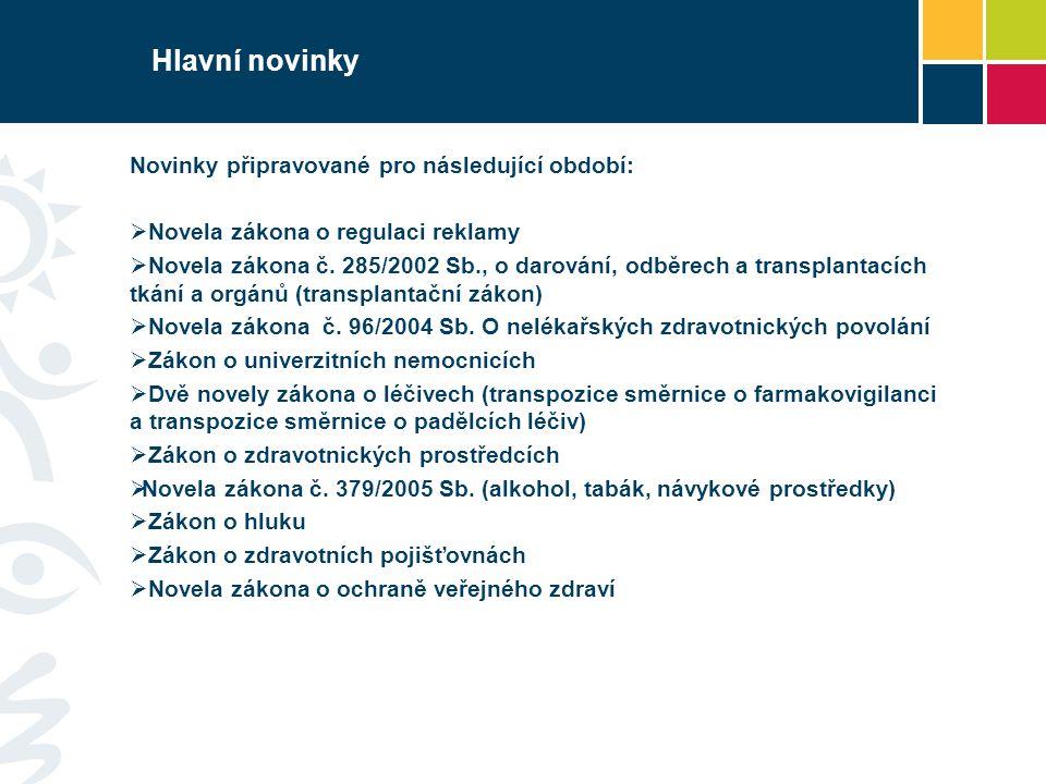 Hlavní novinky Novinky připravované pro následující období:  Novela zákona o regulaci reklamy  Novela zákona č. 285/2002 Sb., o darování, odběrech a