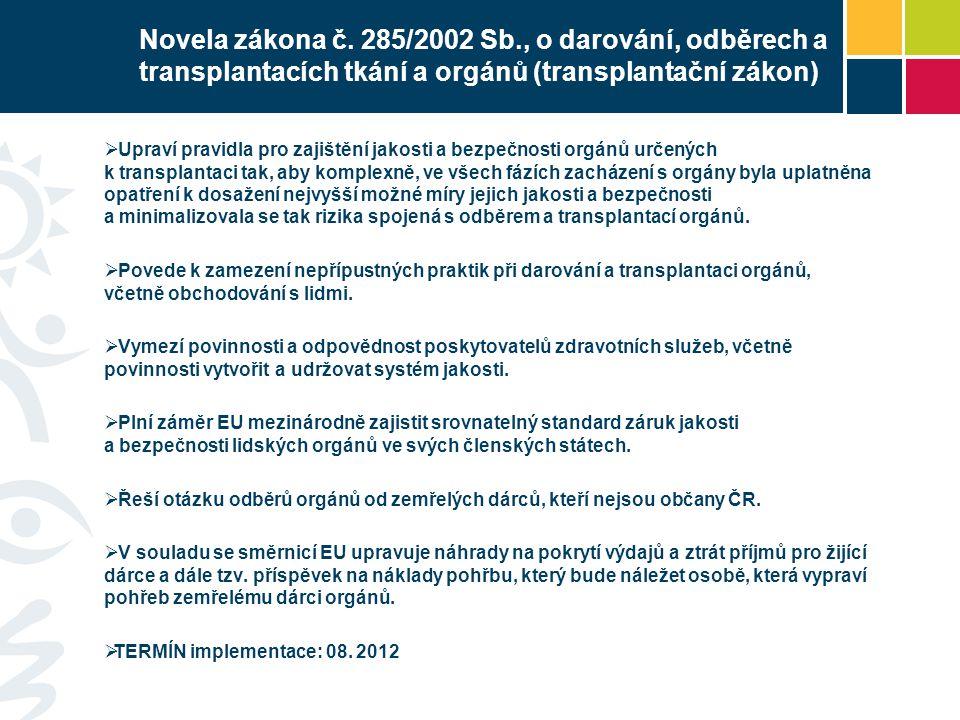 Novela zákona č. 285/2002 Sb., o darování, odběrech a transplantacích tkání a orgánů (transplantační zákon)  Upraví pravidla pro zajištění jakosti a