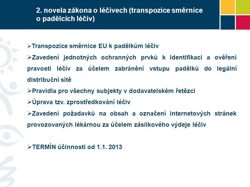 2. novela zákona o léčivech (transpozice směrnice o padělcích léčiv)  Transpozice směrnice EU k padělkům léčiv  Zavedení jednotných ochranných prvků