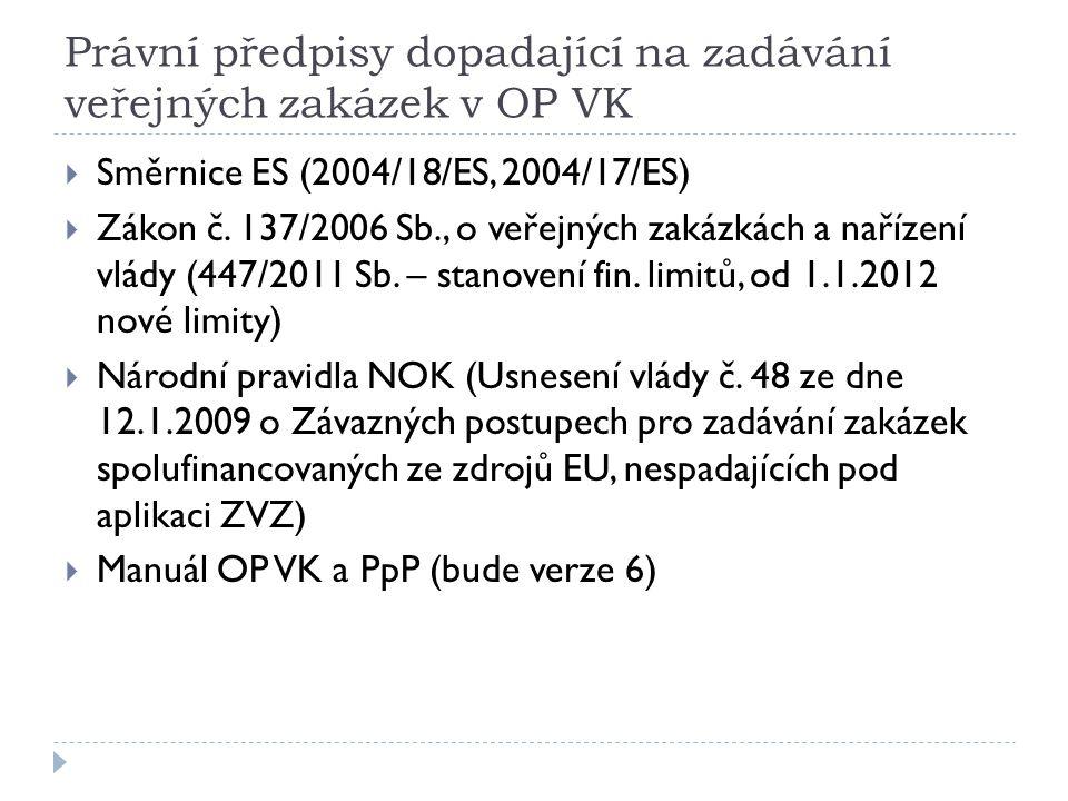 Právní předpisy dopadající na zadávání veřejných zakázek v OP VK  Směrnice ES (2004/18/ES, 2004/17/ES)  Zákon č. 137/2006 Sb., o veřejných zakázkách