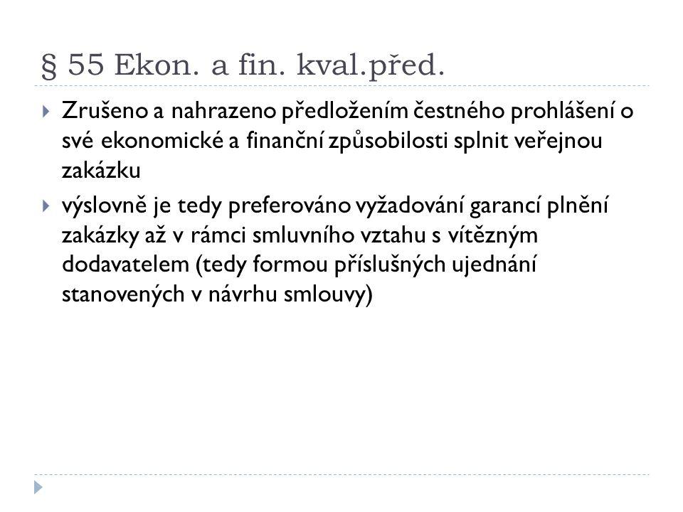 § 55 Ekon. a fin. kval.před.  Zrušeno a nahrazeno předložením čestného prohlášení o své ekonomické a finanční způsobilosti splnit veřejnou zakázku 