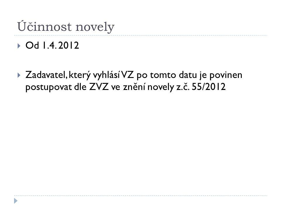 Účinnost novely  Od 1.4. 2012  Zadavatel, který vyhlásí VZ po tomto datu je povinen postupovat dle ZVZ ve znění novely z.č. 55/2012