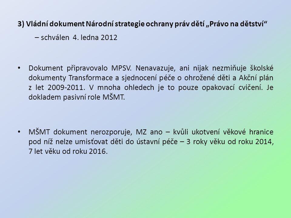 """3) Vládní dokument Národní strategie ochrany práv dětí """"Právo na dětství"""" – schválen 4. ledna 2012 • Dokument připravovalo MPSV. Nenavazuje, ani nijak"""