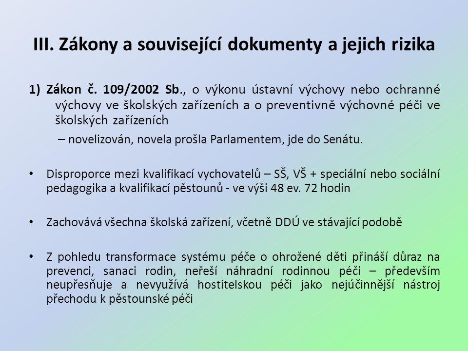 III.Zákony a související dokumenty a jejich rizika 1) Zákon č.
