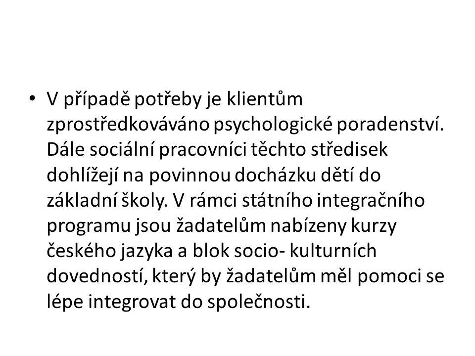 • V případě potřeby je klientům zprostředkováváno psychologické poradenství.
