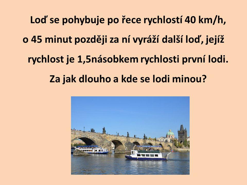 Loď se pohybuje po řece rychlostí 40 km/h, o 45 minut později za ní vyráží další loď, jejíž rychlost je 1,5násobkem rychlosti první lodi. Za jak dlouh