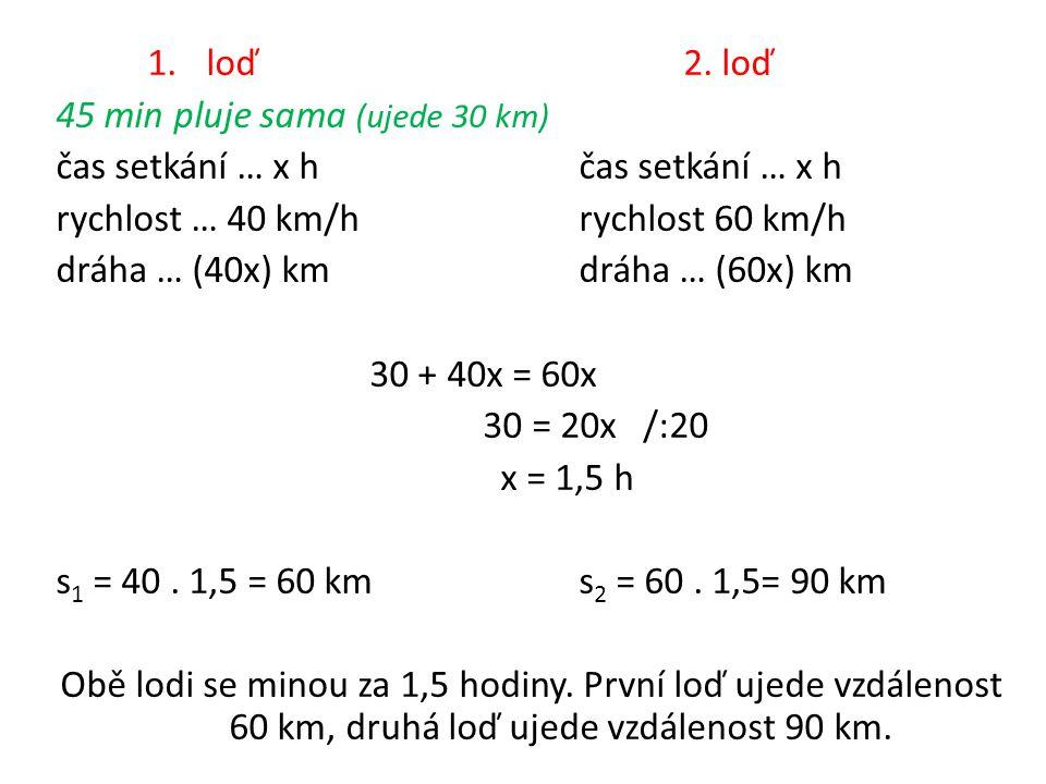 1.loď2. loď 45 min pluje sama (ujede 30 km)čas setkání … x h rychlost … 40 km/hrychlost 60 km/h dráha … (40x) kmdráha … (60x) km 30 + 40x = 60x 30 = 2