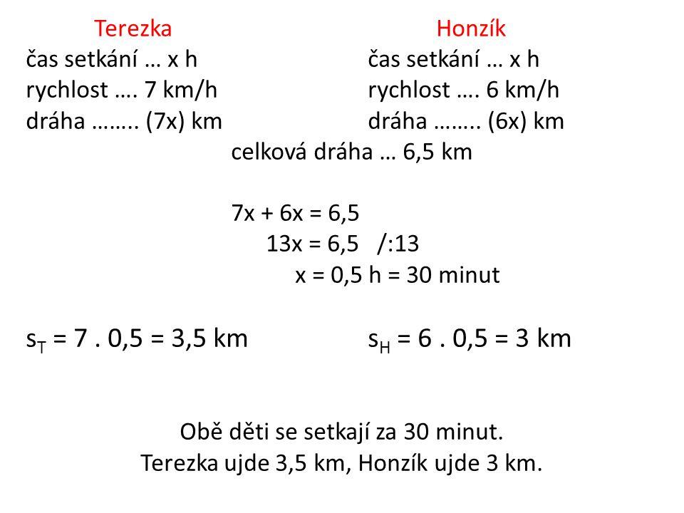 TerezkaHonzíkčas setkání … x h rychlost …. 7 km/hrychlost …. 6 km/h dráha …….. (7x) kmdráha …….. (6x) km celková dráha … 6,5 km 7x + 6x = 6,5 13x = 6,
