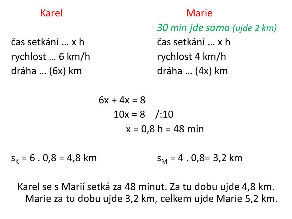 KarelMarie 30 min jde sama (ujde 2 km)čas setkání … x h rychlost … 6 km/hrychlost 4 km/h dráha … (6x) kmdráha … (4x) km 6x + 4x = 8 10x = 8 /:10 x = 0