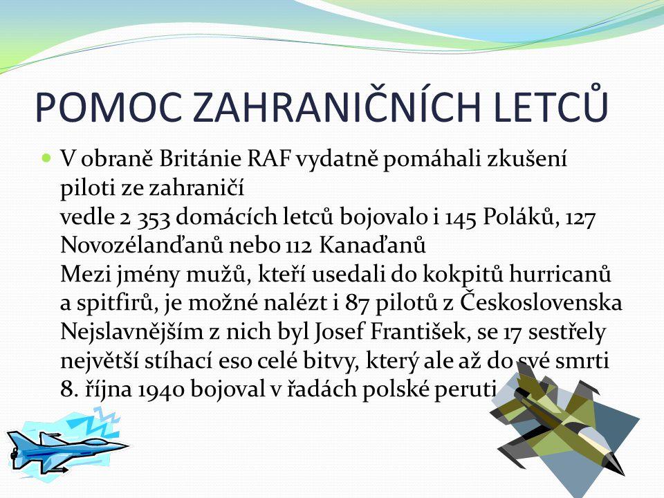 POMOC ZAHRANIČNÍCH LETCŮ  V obraně Británie RAF vydatně pomáhali zkušení piloti ze zahraničí vedle 2 353 domácích letců bojovalo i 145 Poláků, 127 No
