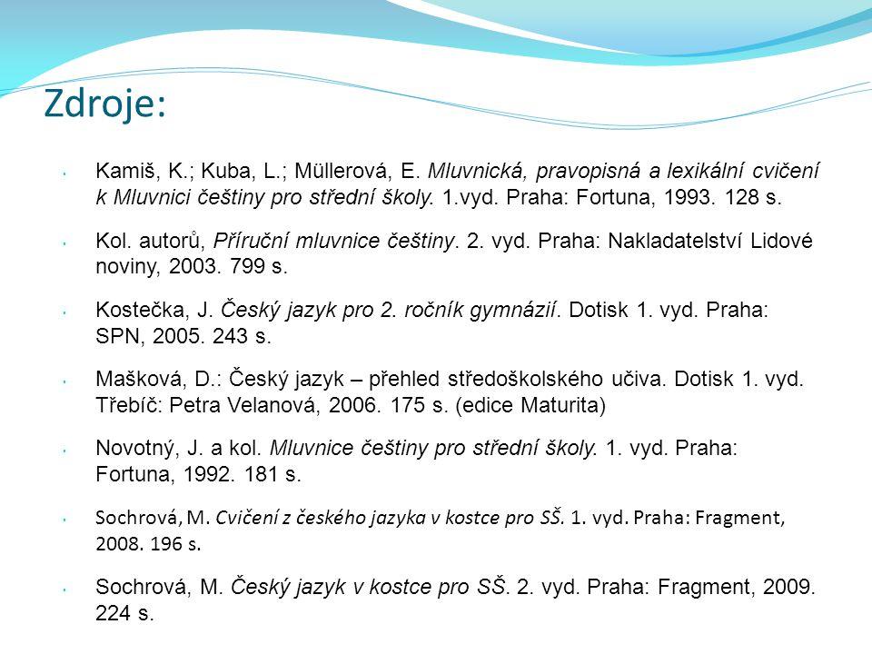 • Kamiš, K.; Kuba, L.; Müllerová, E. Mluvnická, pravopisná a lexikální cvičení k Mluvnici češtiny pro střední školy. 1.vyd. Praha: Fortuna, 1993. 128