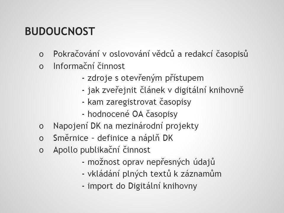 BUDOUCNOST o Pokračování v oslovování vědců a redakcí časopisů o Informační činnost - zdroje s otevřeným přístupem - jak zveřejnit článek v digitální knihovně - kam zaregistrovat časopisy - hodnocené OA časopisy o Napojení DK na mezinárodní projekty o Směrnice – definice a náplň DK o Apollo publikační činnost - možnost oprav nepřesných údajů - vkládání plných textů k záznamům - import do Digitální knihovny