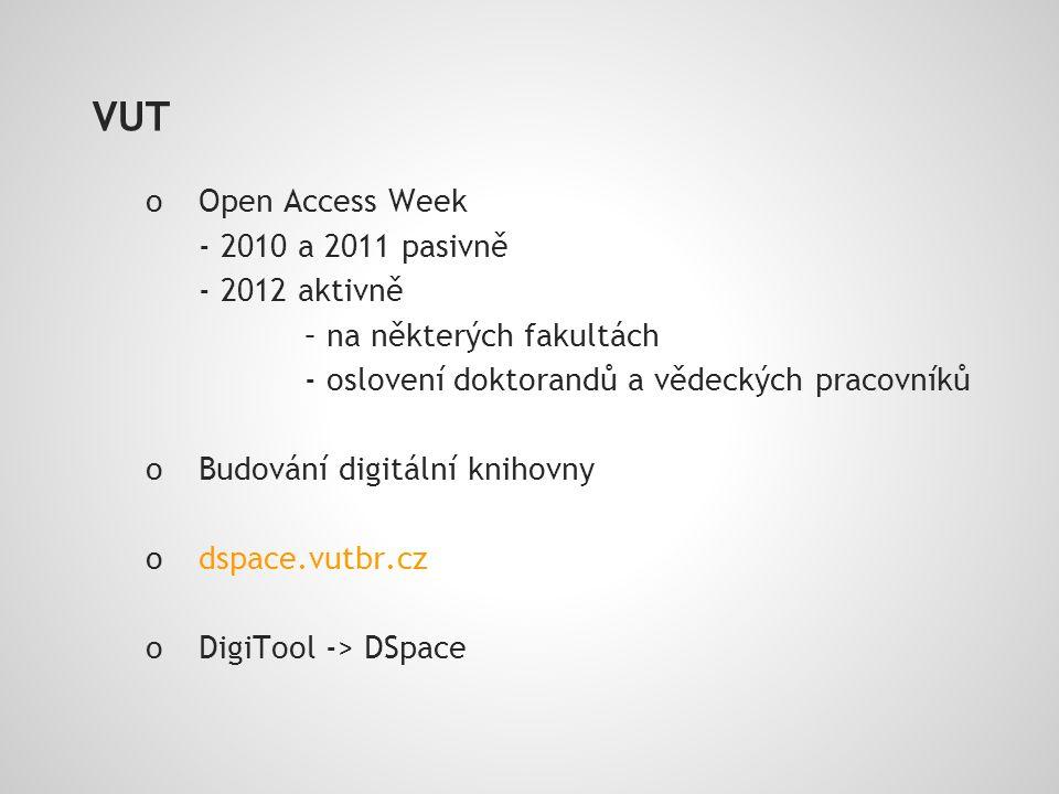 VUT o Open Access Week - 2010 a 2011 pasivně - 2012 aktivně – na některých fakultách - oslovení doktorandů a vědeckých pracovníků o Budování digitální knihovny o dspace.vutbr.cz o DigiTool -> DSpace