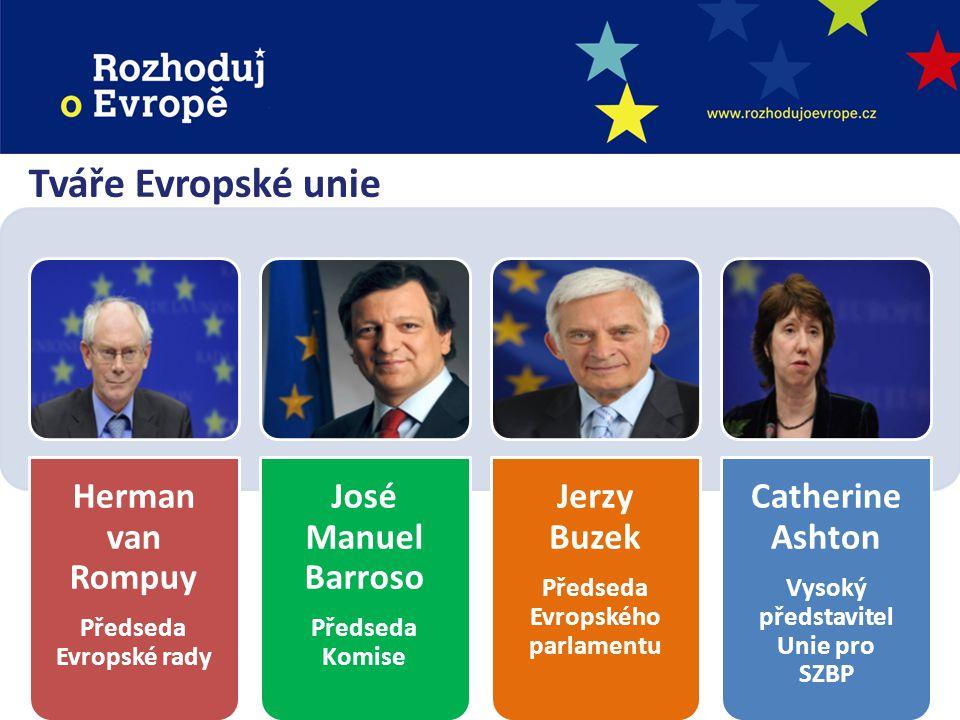 Instituce Evropské unie Evropská rada Herman van Rompuy Impulsy a priority Evropská komise José Manuel Barroso Prosazování společných zájmů Rada ministrů (Rada EU) Předsedající stát Hlas členských států Evropský parlament Jerzy Buzek Hlas občanů