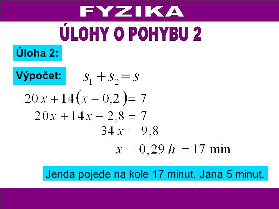 Úloha 2: Výpočet: Jenda pojede na kole 17 minut, Jana 5 minut.