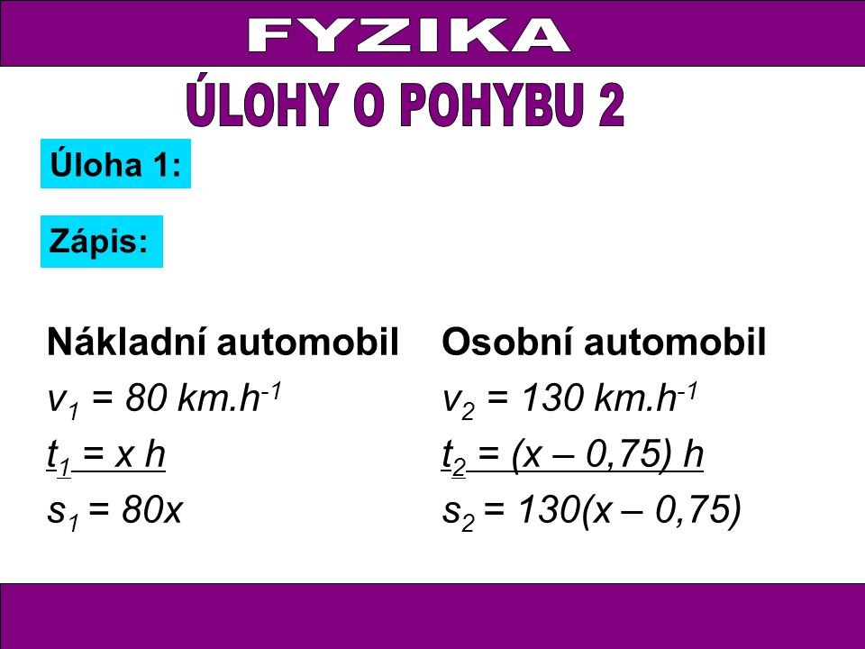 FYZIKA V 8:00 vyjel z Bratislavy rychlík Tatry do Popradu vzdáleného 340 kilometrů.