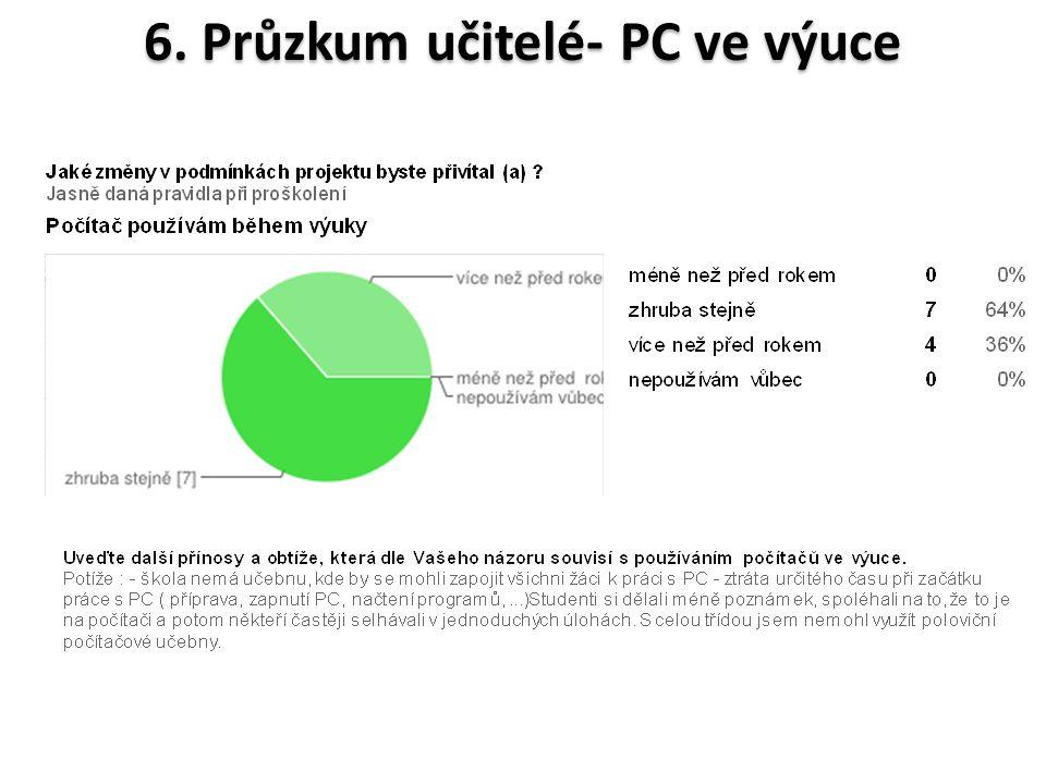 6. Průzkum učitelé- PC ve výuce