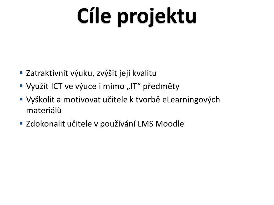 """Cíle projektu  Zatraktivnit výuku, zvýšit její kvalitu  Využít ICT ve výuce i mimo """"IT předměty  Vyškolit a motivovat učitele k tvorbě eLearningových materiálů  Zdokonalit učitele v používání LMS Moodle"""
