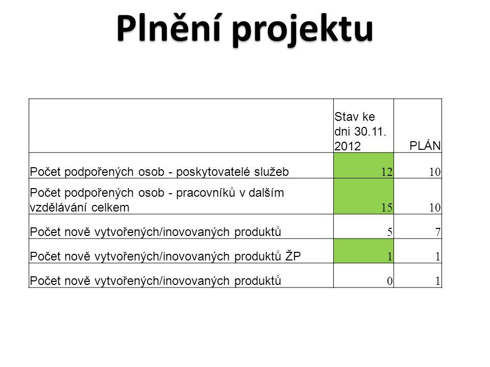Plnění projektu Stav ke dni 30.11.