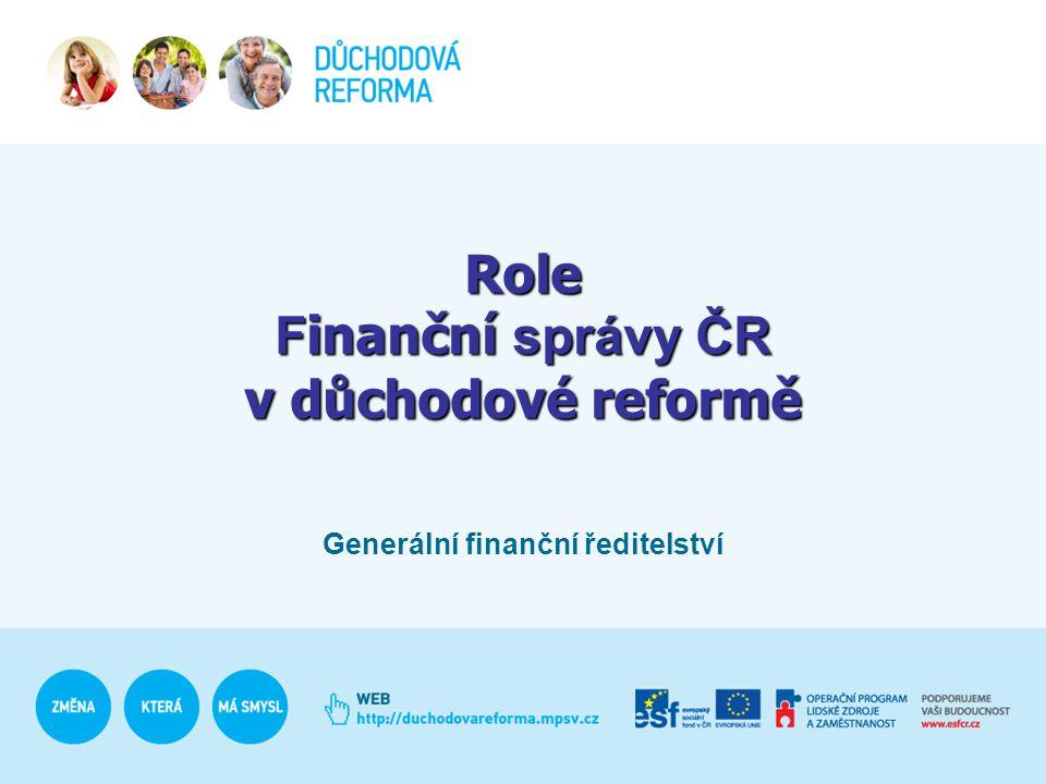 Role F inanční správy ČR v důchodové reformě Generální finanční ředitelství
