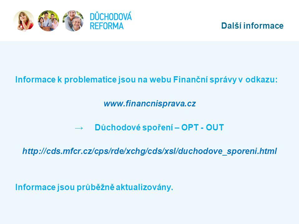 Informace k problematice jsou na webu Finanční správy v odkazu: www.financnisprava.cz → Důchodové spoření – OPT - OUT http://cds.mfcr.cz/cps/rde/xchg/