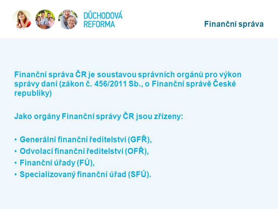 Finanční správa ČR je soustavou správních orgánů pro výkon správy daní (zákon č. 456/2011 Sb., o Finanční správě České republiky) Jako orgány Finanční
