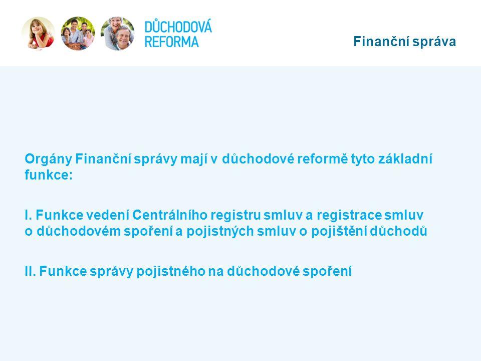 Orgány Finanční správy mají v důchodové reformě tyto základní funkce: I. Funkce vedení Centrálního registru smluv a registrace smluv o důchodovém spoř