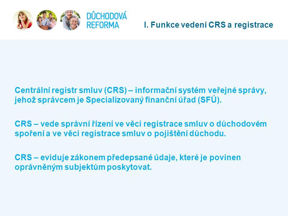 Centrální registr smluv (CRS) – informační systém veřejné správy, jehož správcem je Specializovaný finanční úřad (SFÚ). CRS – vede správní řízení ve v