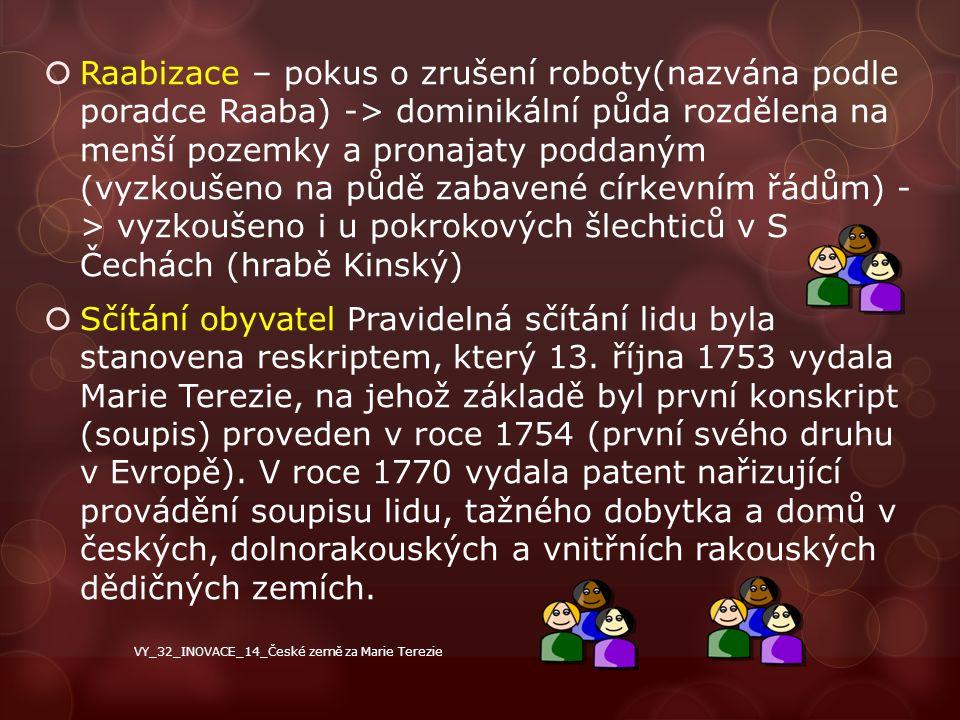  Raabizace – pokus o zrušení roboty(nazvána podle poradce Raaba) -> dominikální půda rozdělena na menší pozemky a pronajaty poddaným (vyzkoušeno na p
