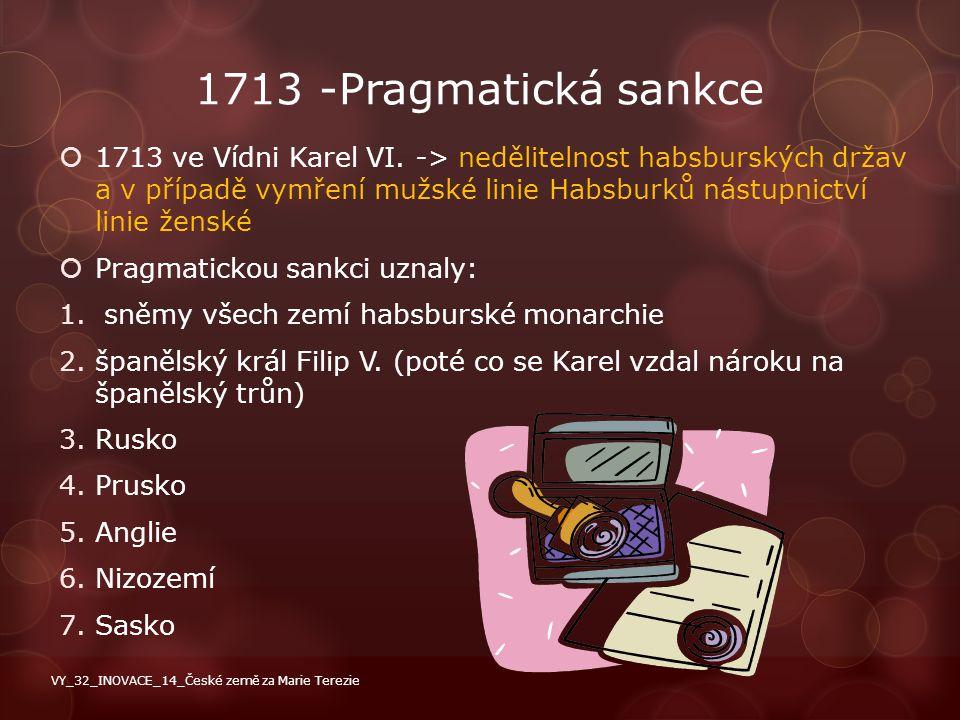1713 -Pragmatická sankce  1713 ve Vídni Karel VI. -> nedělitelnost habsburských držav a v případě vymření mužské linie Habsburků nástupnictví linie ž
