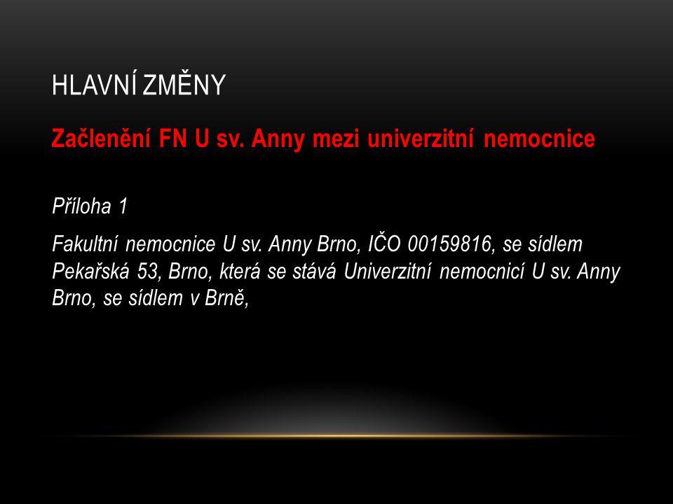 HLAVNÍ ZMĚNY Začlenění FN U sv. Anny mezi univerzitní nemocnice Příloha 1 Fakultní nemocnice U sv.