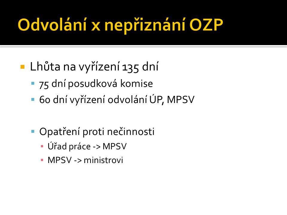  Lhůta na vyřízení 135 dní  75 dní posudková komise  60 dní vyřízení odvolání ÚP, MPSV  Opatření proti nečinnosti ▪ Úřad práce -> MPSV ▪ MPSV -> ministrovi