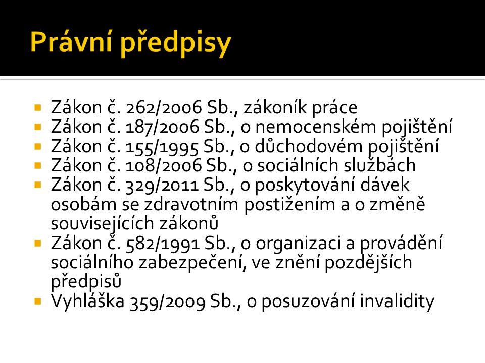  Zákon č.262/2006 Sb., zákoník práce  Zákon č. 187/2006 Sb., o nemocenském pojištění  Zákon č.