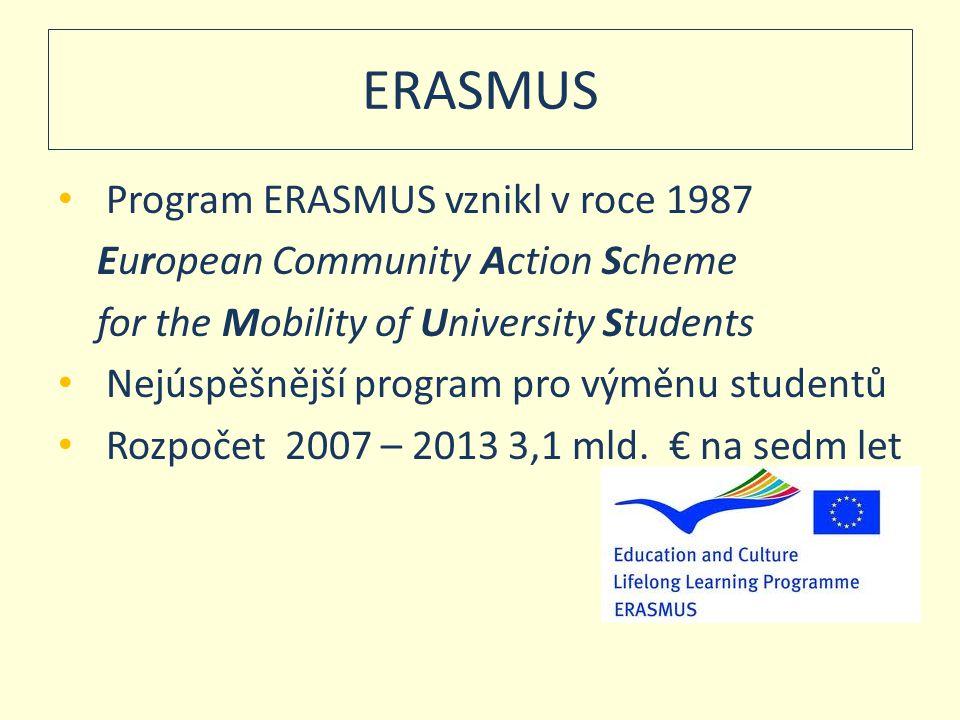 ERASMUS • Program ERASMUS vznikl v roce 1987 European Community Action Scheme for the Mobility of University Students • Nejúspěšnější program pro výmě