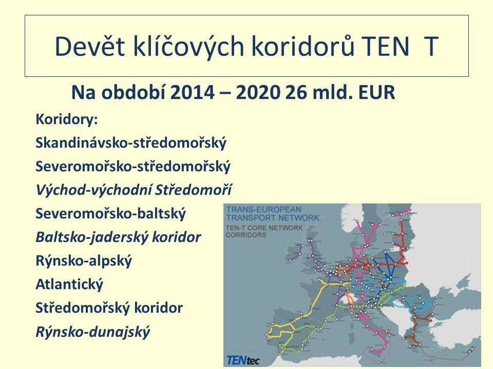 Devět klíčových koridorů TEN T Na období 2014 – 2020 26 mld. EUR Koridory: Skandinávsko-středomořský Severomořsko-středomořský Východ-východní Středom