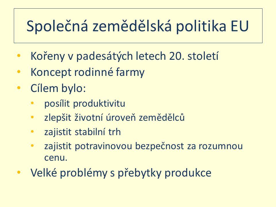 Společná zemědělská politika EU • Kořeny v padesátých letech 20. století • Koncept rodinné farmy • Cílem bylo: • posílit produktivitu • zlepšit životn