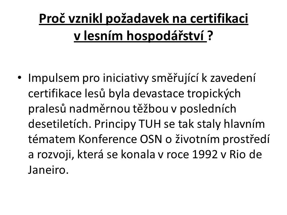 Mezinárodní rámec pro stanovení pravidel certifikace TUH v lesích • V Evropě byla problematika TUH v lesích předmětem ministerské konference v Helsinkách v roce 1993 a navazujícího jednání expertů v roce 1996, kde byla na pořadu jednání již i problematika certifikace lesů.