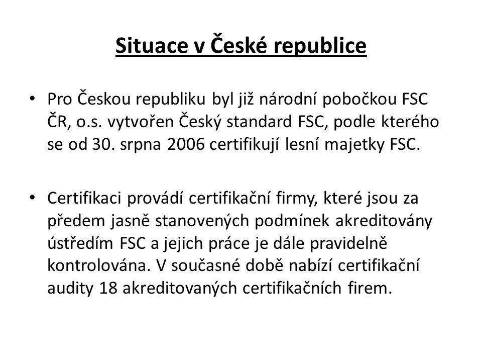 Situace v České republice • Pro Českou republiku byl již národní pobočkou FSC ČR, o.s.