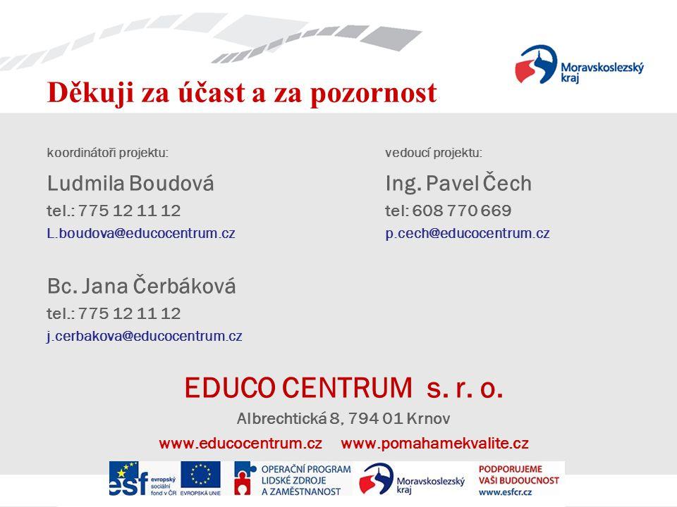 Děkuji za účast a za pozornost koordinátoři projektu:vedoucí projektu: Ludmila BoudováIng.
