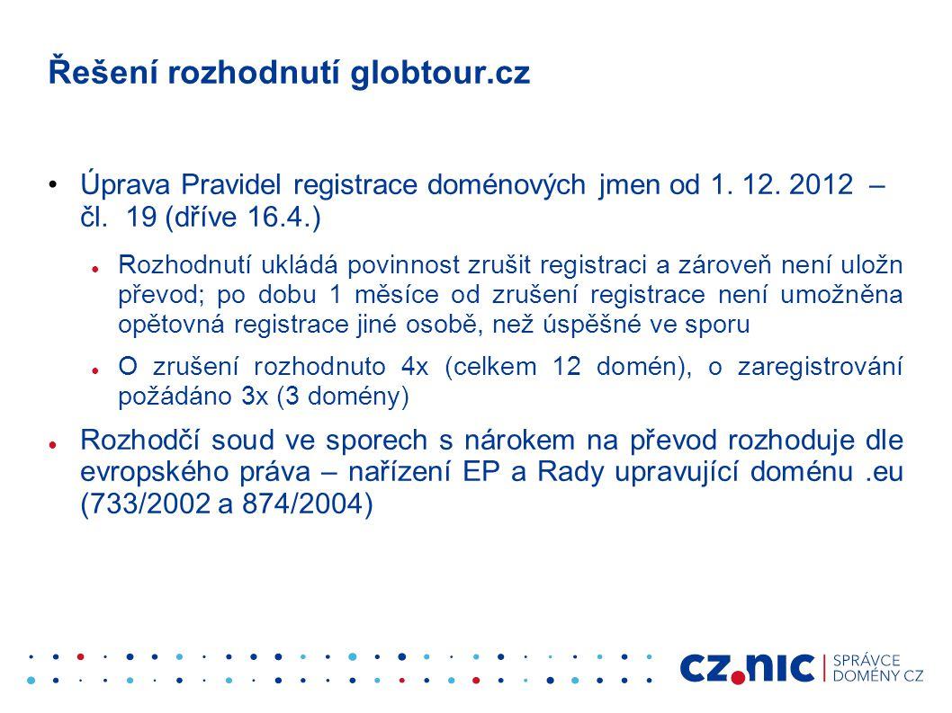 Řešení rozhodnutí globtour.cz •Úprava Pravidel registrace doménových jmen od 1. 12. 2012 – čl. 19 (dříve 16.4.) ● Rozhodnutí ukládá povinnost zrušit r