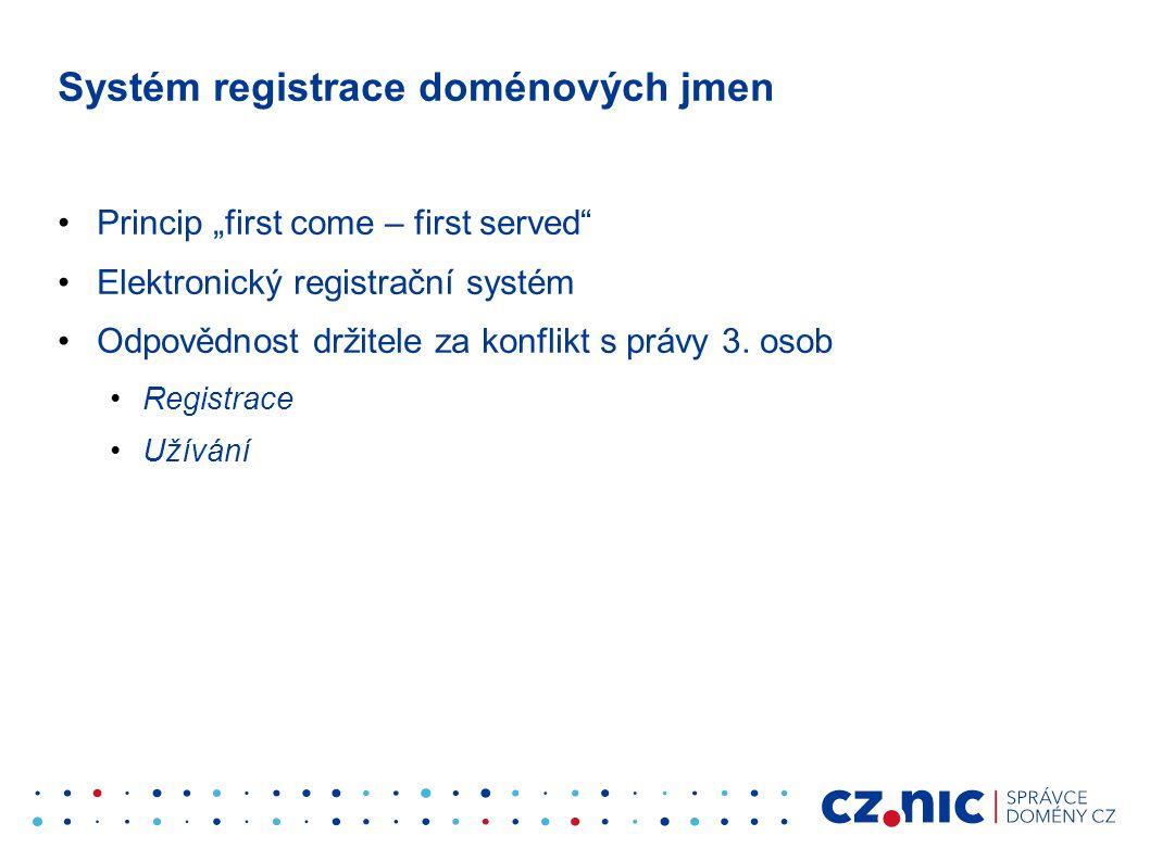 """Systém registrace doménových jmen •Princip """"first come – first served"""" •Elektronický registrační systém •Odpovědnost držitele za konflikt s právy 3. o"""