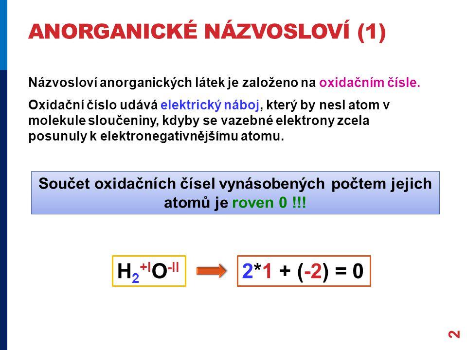 ANORGANICKÉ NÁZVOSLOVÍ (1) 2 Názvosloví anorganických látek je založeno na oxidačním čísle. Oxidační číslo udává elektrický náboj, který by nesl atom