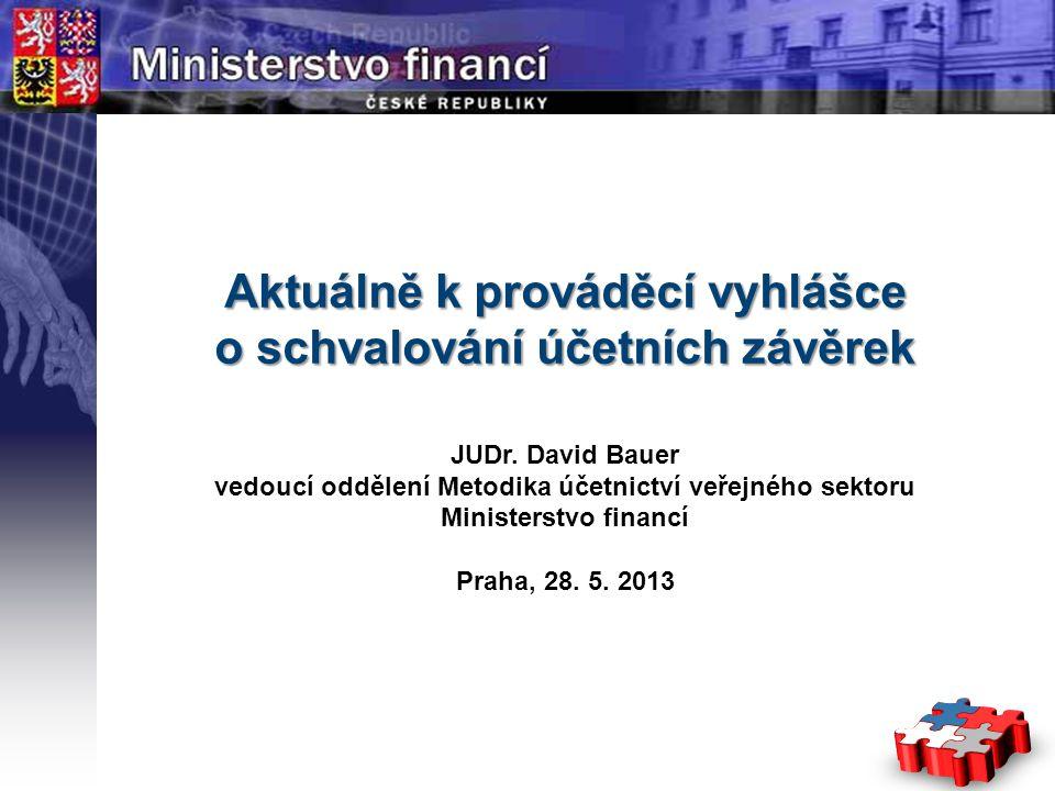 Page  1 YOUR LOGO STÁTNÍ Aktuálně k prováděcí vyhlášce o schvalování účetních závěrek JUDr. David Bauer vedoucí oddělení Metodika účetnictví veřejnéh