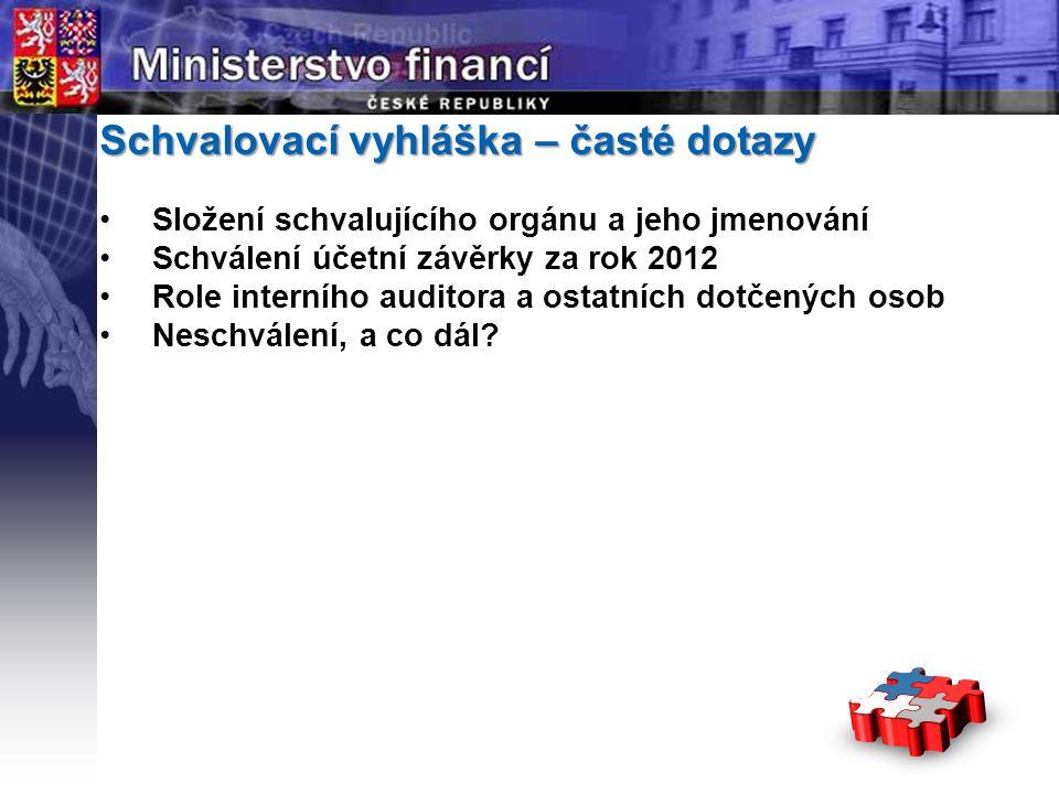 Page  7 YOUR LOGO STÁTNÍ Schvalovací vyhláška – časté dotazy •Složení schvalujícího orgánu a jeho jmenování •Schválení účetní závěrky za rok 2012 •Ro