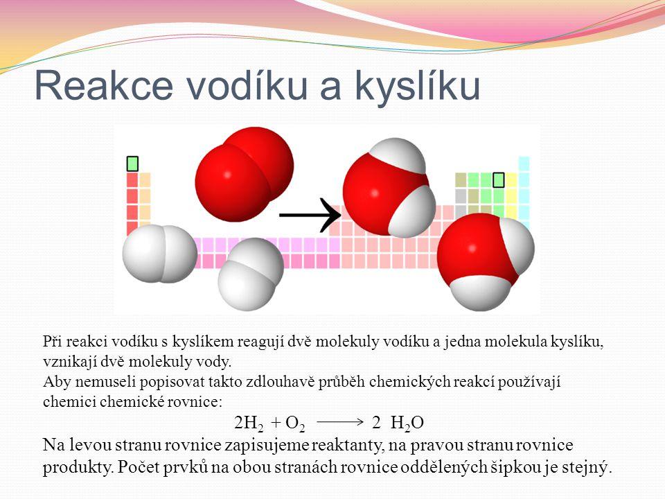 Reakce vodíku a kyslíku Při reakci vodíku s kyslíkem reagují dvě molekuly vodíku a jedna molekula kyslíku, vznikají dvě molekuly vody. Aby nemuseli po