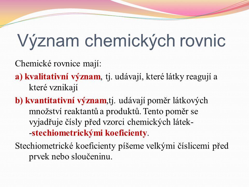 Postup psaní chemických rovnic: 1.Zapíšeme reaktanty a produkty.