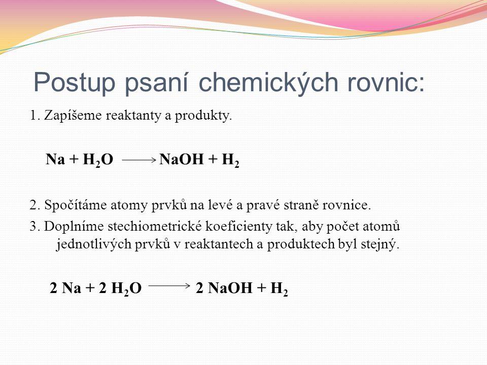Postup psaní chemických rovnic: 1. Zapíšeme reaktanty a produkty. Na + H 2 O NaOH + H 2 2. Spočítáme atomy prvků na levé a pravé straně rovnice. 3. Do